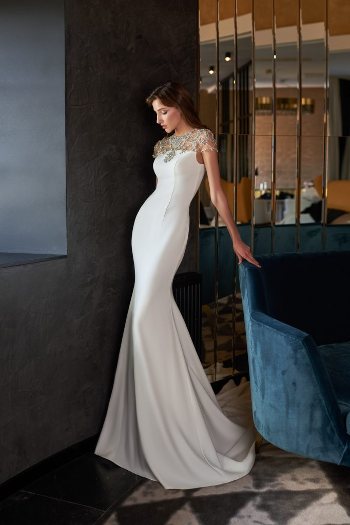 mermaid wedding dress, crystal wedding dress