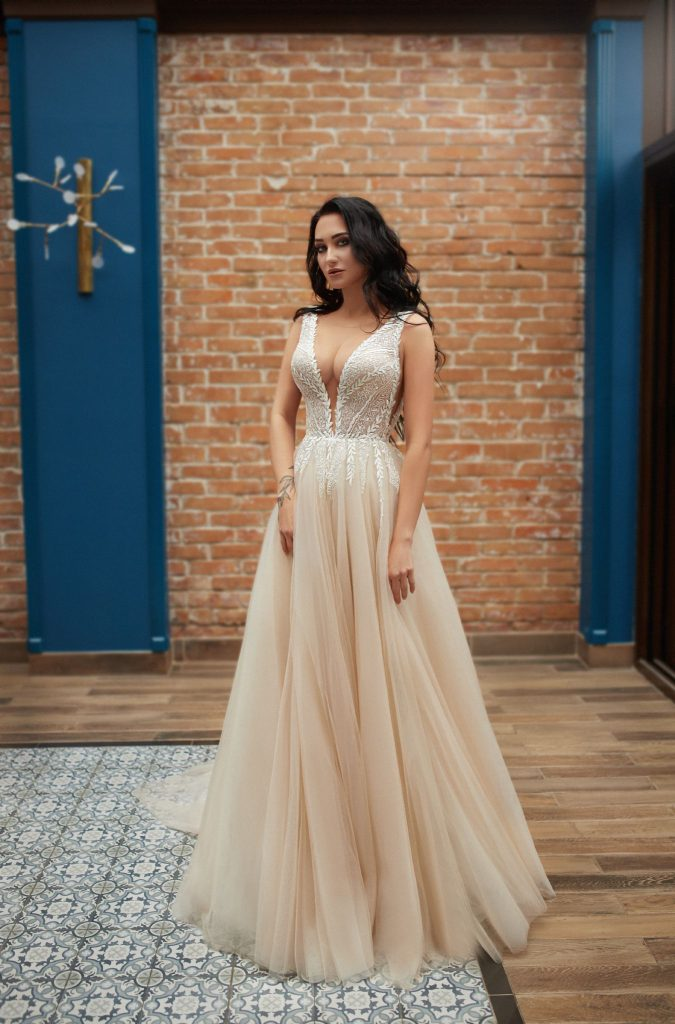 champagne wedding dress, princess wedding dress, long bridal gown, bridal gown