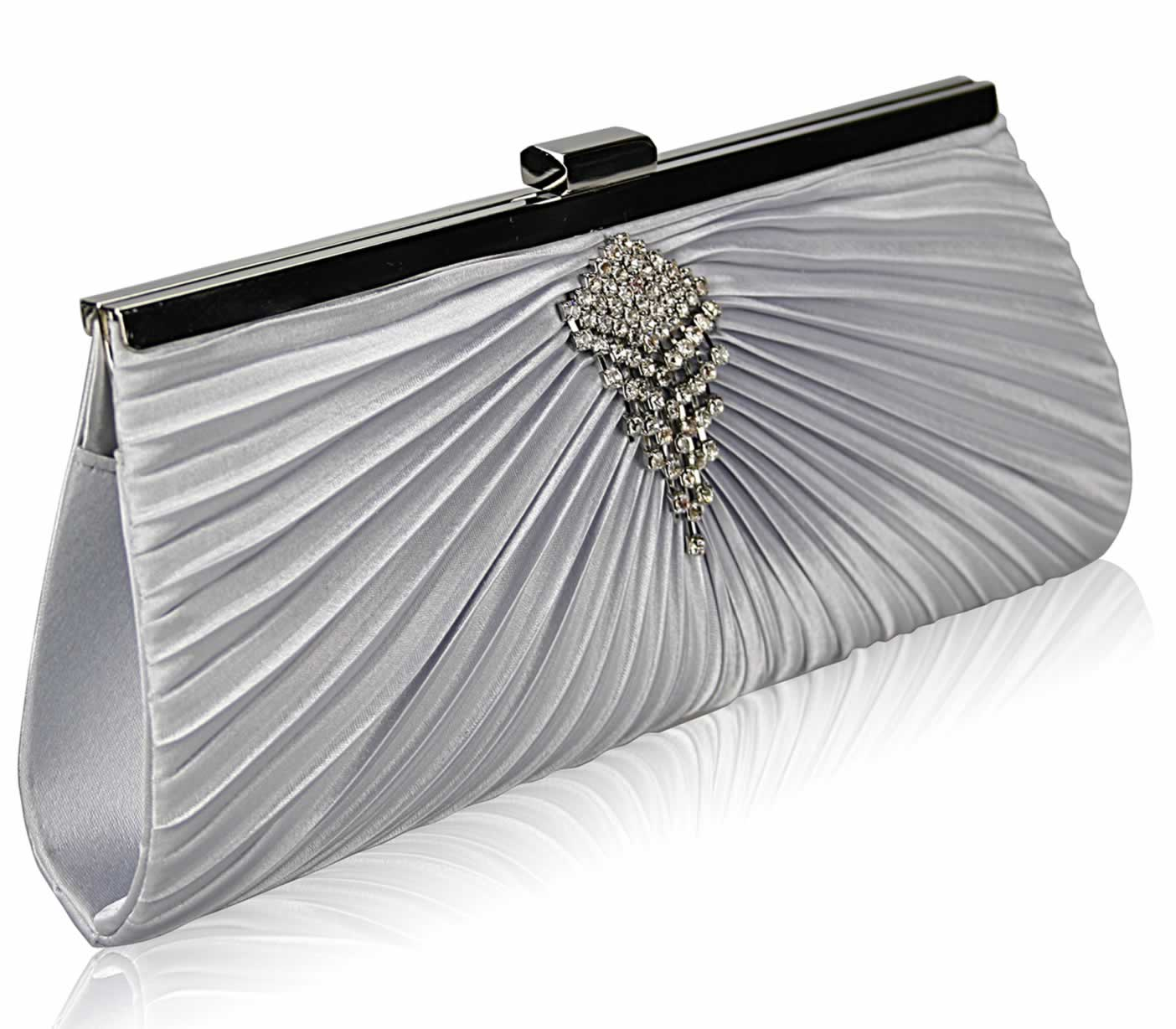 Silver Satin Clutch Bag With Crystal Decoration