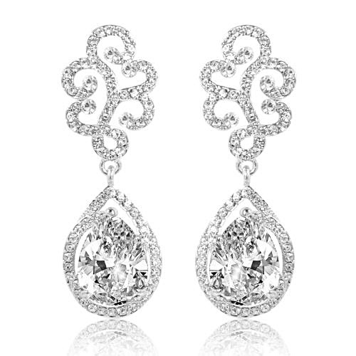 Anna Crystal Bridal Earrings, Crystal Wedding Earrings