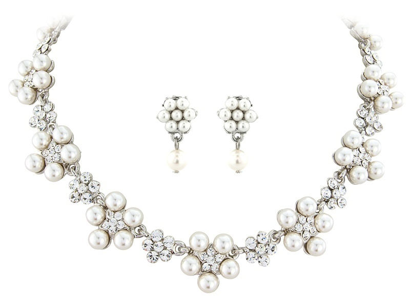 Claire Pearl and Crystal Necklace Set
