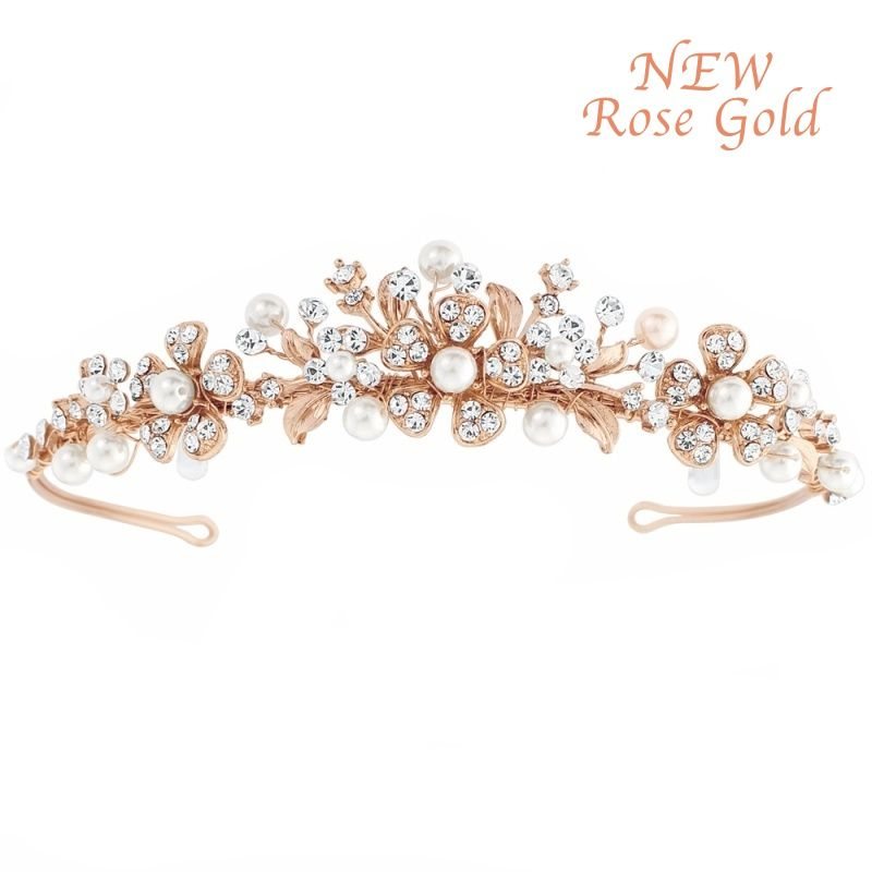 Diana rose gold bridal tiara, crystal and pearl weddding tiara