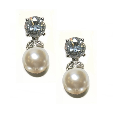 Emily Pearl Bridal Earrings, Crystal and Pearl Wedding Earrings