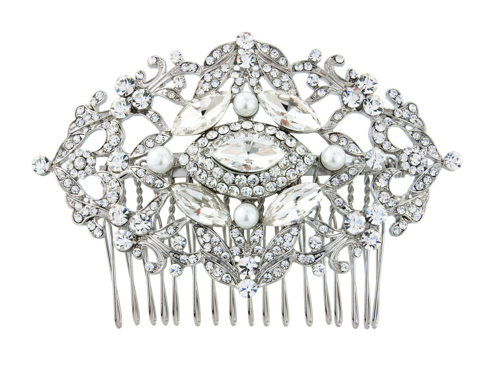 Luxury crystal and pearl hair comb,