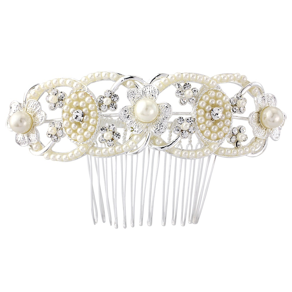 May Pearl and Crystal Bridal Hair Comb, Art Deco Pearl Wedding Hair Comb