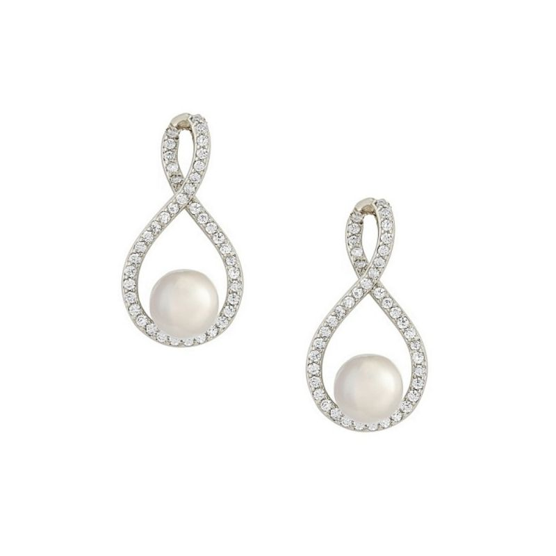 Pearl crystal wedding earrings CZ