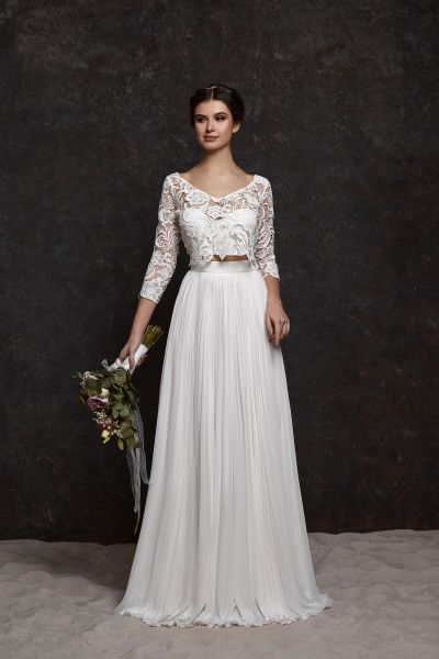 Two Piece Boho Wedding Dress With Long Sleeves